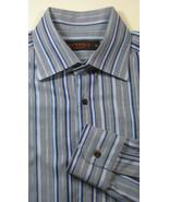 ETRO 39cm Rich Blue Gray Stripe Spread Collar Dress Shirt - $99.99