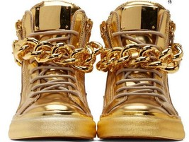 Newest Men Wedge Gold Sneakers High Top Zipper Lace Up Sneakers Casual ... - $265.95