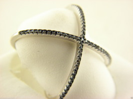 Sterling Silver 925 Black CZ Criss Cross X Ring Size 6 #5 - $18.80