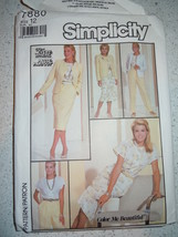 Vtg 1986 Simplicity Misses' Size 12 Blouse Skirt Pants & Jacket #7880 - $4.99