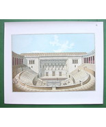 GREEK THEATER Perspective View Odeon - 1888 COLOR Litho Fine Print SCARCE - $22.95