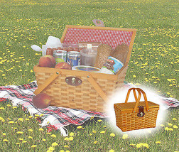 "New 12.5"" Chipwood Picnic Basket with Folding Handles Lined with Red/whi... - $20.99"
