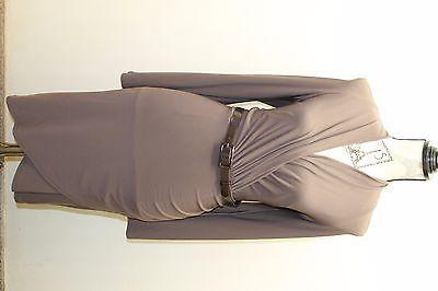 AK Anne Klein Women Dress Violet Long Sleeve Jersey Sz 8 V-Neck W Mac Wrap