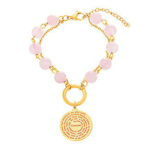 Gold-Tone Stainless Steel Rose Pink Bead Swirl ... - $19.98