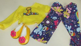 "18"" doll clothes handmade pajama outfit shoes My Little Pony Applejack t... - $9.89"
