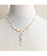 Freshwater Pearl Y Necklace Sterling Silver Ivory - $24.00