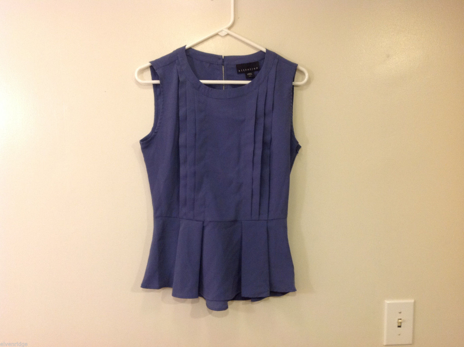 Attention Women's Size S Pintucked Peplum Top Sleeveless Shell Dusty Indigo Blue