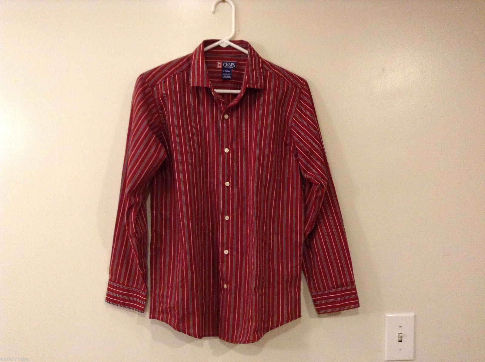 Boys/Young Men Chaps Brown Red Striped shirt cotton/polyest, size L(boys 14-16)