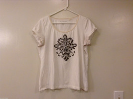 Chico's White with Silver Gray Embroidery on front T-Shirt Top, Size 2