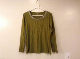 Coldwater Creek Olive Green Scoop Neck with Beading T-Shirt Top, Size M (10-12)