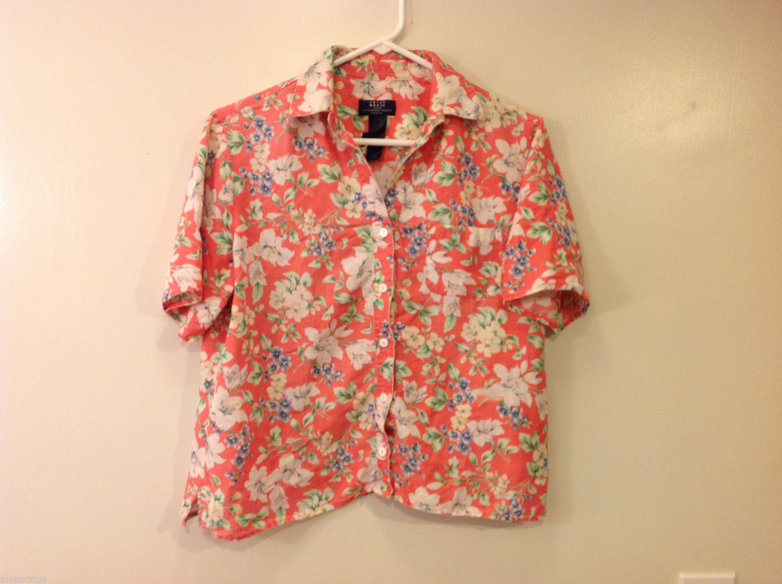 Crazy Horse Women Petite XL Coral Pink Hawaiian Style Floral Flower Print Shirt