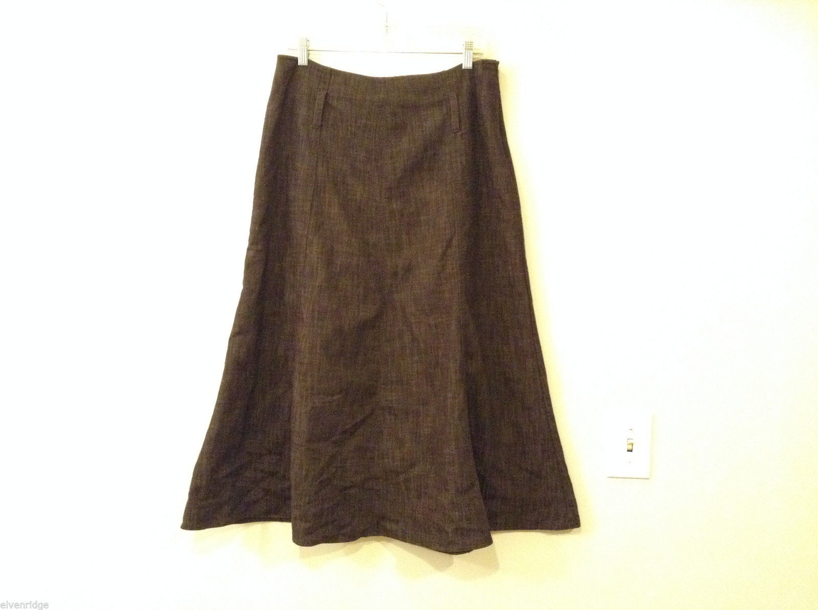 Dressbarn Brown Color Cotton-Poly A-line Long Skirt, size10, unlined Belt loops