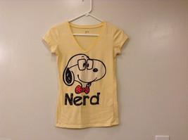 "Girls Short Sleeve Light Yellow V-neck T-Shirt Snoopy Dog ""NERD"" Size S"