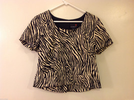 Scarlett Women's Size 14 Crop Top Scoop Neck in Black & White Zebra Animal Print
