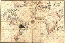 World Map attributed to Diego Ribero   -  Cards and Small Prints - $8.15+