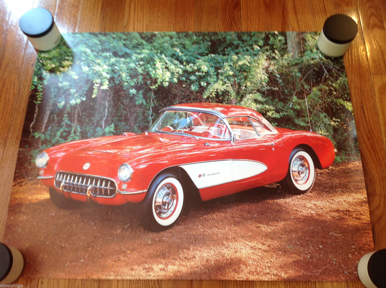 "Vintage 1982 Corvette Poster Red Lithographic Print 28"" x 22"""