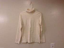 St.John's Bay Woman White 100% Cotton Turtleneck Sweater Top, Size L