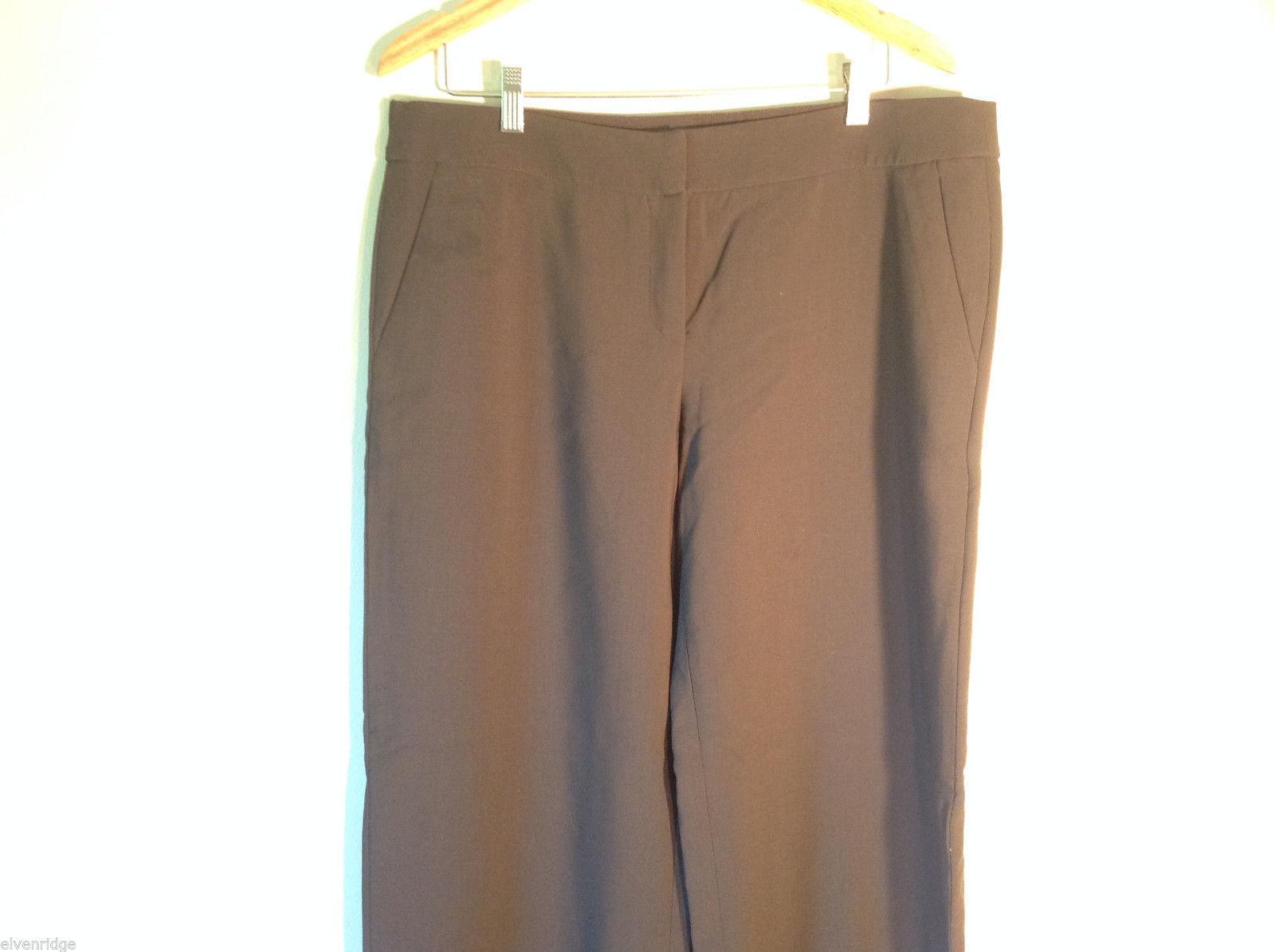 Womens Giorgio Armani Dark Brown Flat Front Trouser Dress Pants Slacks ITALY image 2