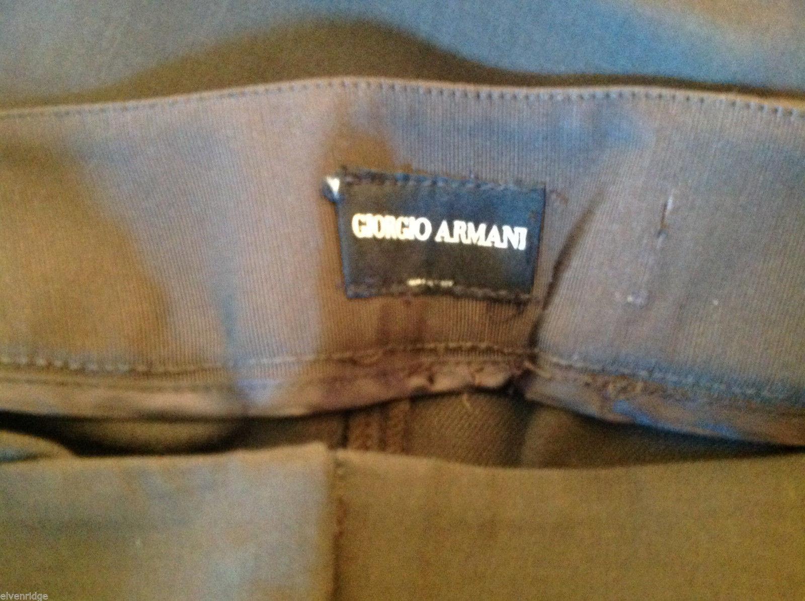 Womens Giorgio Armani Dark Brown Flat Front Trouser Dress Pants Slacks ITALY image 6