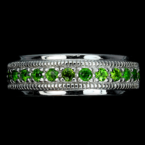 18K VERMEIL-Green Chrome Diopside Sterling silver Band Ring-Sz 9