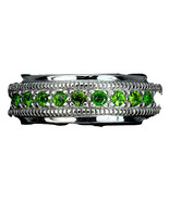 18K VERMEIL-Green Chrome Diopside Sterling silver Band Ring-Sz 9 - $49.99