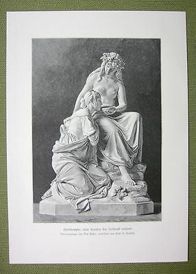 NUDE Nymph Healing Sick with Spring Water Sculpture - VICTORIAN Era Print