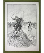 HORSE RACE vs Bicycle Cowboy Cody vs Velocipedist Meyer - VICTORIAN Era ... - $22.76