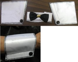 TUXEDO or STRIPPER WHITE COLLAR, BOW TIE & CUFFS - $7.00