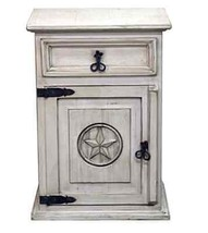 Rustic Mansion White Wash Nightstand Shabby Chic Star Antiqued Solid Wood  - $241.87