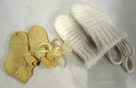 Vintage Baby or Child Crocheted Mittens Booties Socks Circa 1940s-60s - $7.91