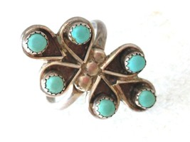 VINTAGE STERLING SILVER TURQUOISE RING s 5.75 - €27,14 EUR
