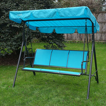 Swing With Canopy Porch Glider Patio Hammock Heavy Duty Steel Frame Fibe... - $177.52