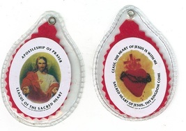 Sacred Heart Badge ( Sealed in Plastic ) with Pamphlet