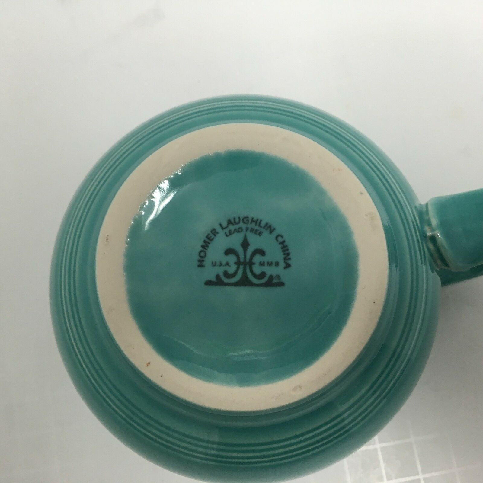Homer Laughlin China Extra Large Turquoise 16 oz Soup Coffee Mug Cup USA GUC