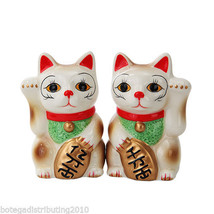 Maneki Neko Japanese Ceramic Magnetic Salt and Pepper Shaker Set Lucky Cat - $12.86