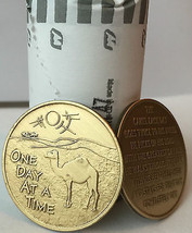 Bulk Lot of 25 Camel Desert One Day At A Time Medallions Bronze Sobriety Chips - $44.25