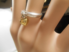 Tiffany & Co 18K Gold & Silver Heart Lock Ring Sz 4.5 Rare - $320.09