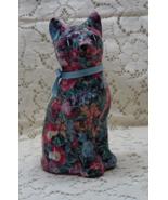 Vintage Fabric Floral Decoupaged Laquered Ceramic Cat Figurine - $13.50
