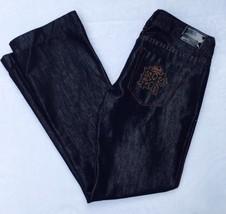 Express Jeans Size 8 Dark Blue Shiny Glossy Stella Boot Leg Bling EUC - $22.44