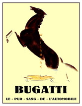 A Vintage Bugatti 13 x 10 inch Horse and Car Advertising Giclee Canvas P... - $19.95