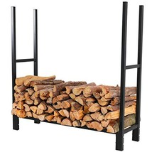 PHI VILLA 4 ft Firewood Rack with Standard Cover Fireplace Log Rack Wood... - $125.79