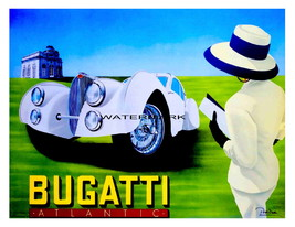 A Vintage Bugatti 13 x 10 inch White Car & Lady Advertising Giclee Canva... - $19.95