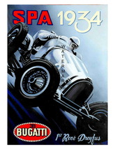 A Vintage Bugatti 1934 Race Car Giclee 13 x 10 inch Advertising Canvas P... - $19.95