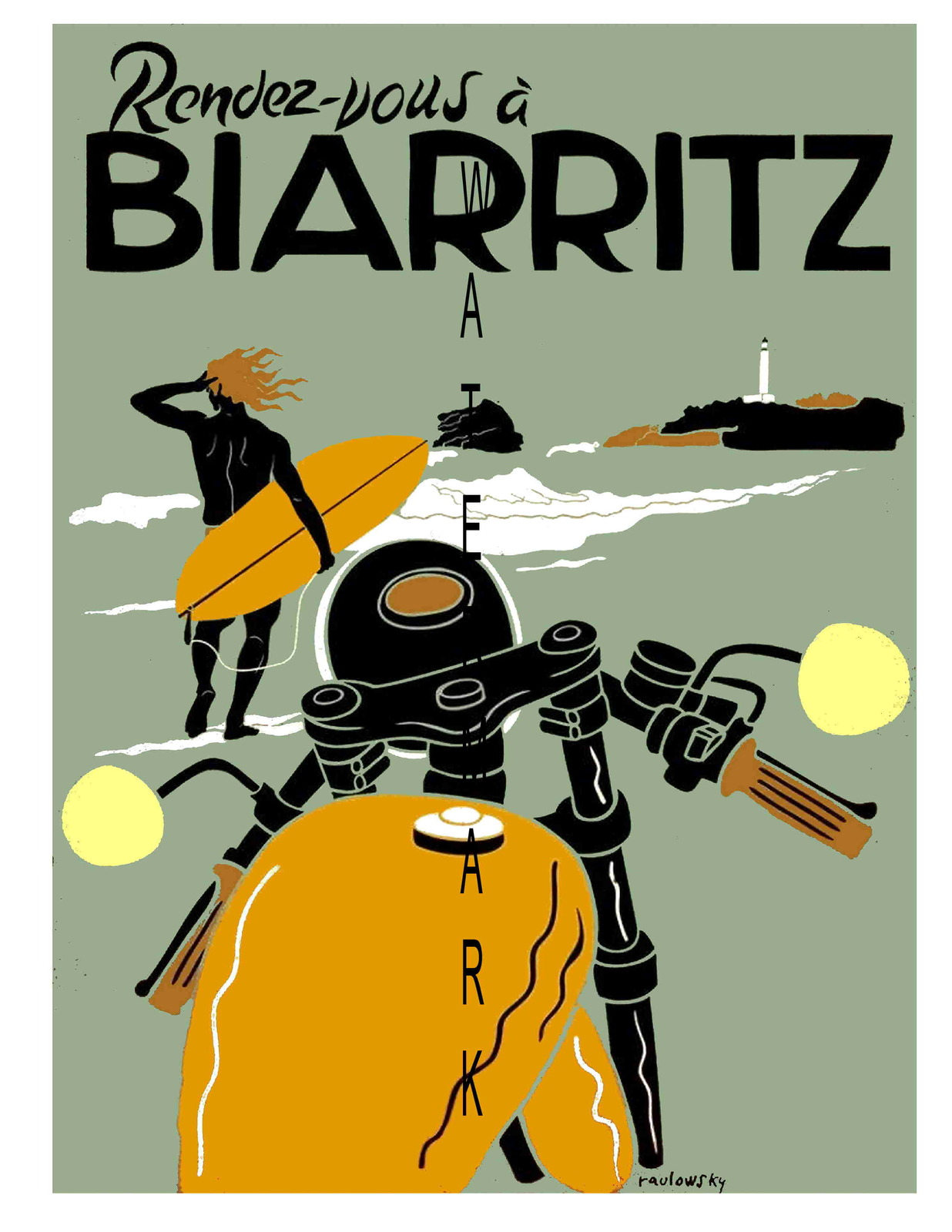 Biarritz Vintage 13 x 10 in Rendez-Vous Biarritz Travel Adv Giclee Canvas Print