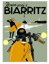 Biarritz Vintage 13 x 10 in Rendez-Vous Biarritz Travel Adv Giclee Canva... - $19.95