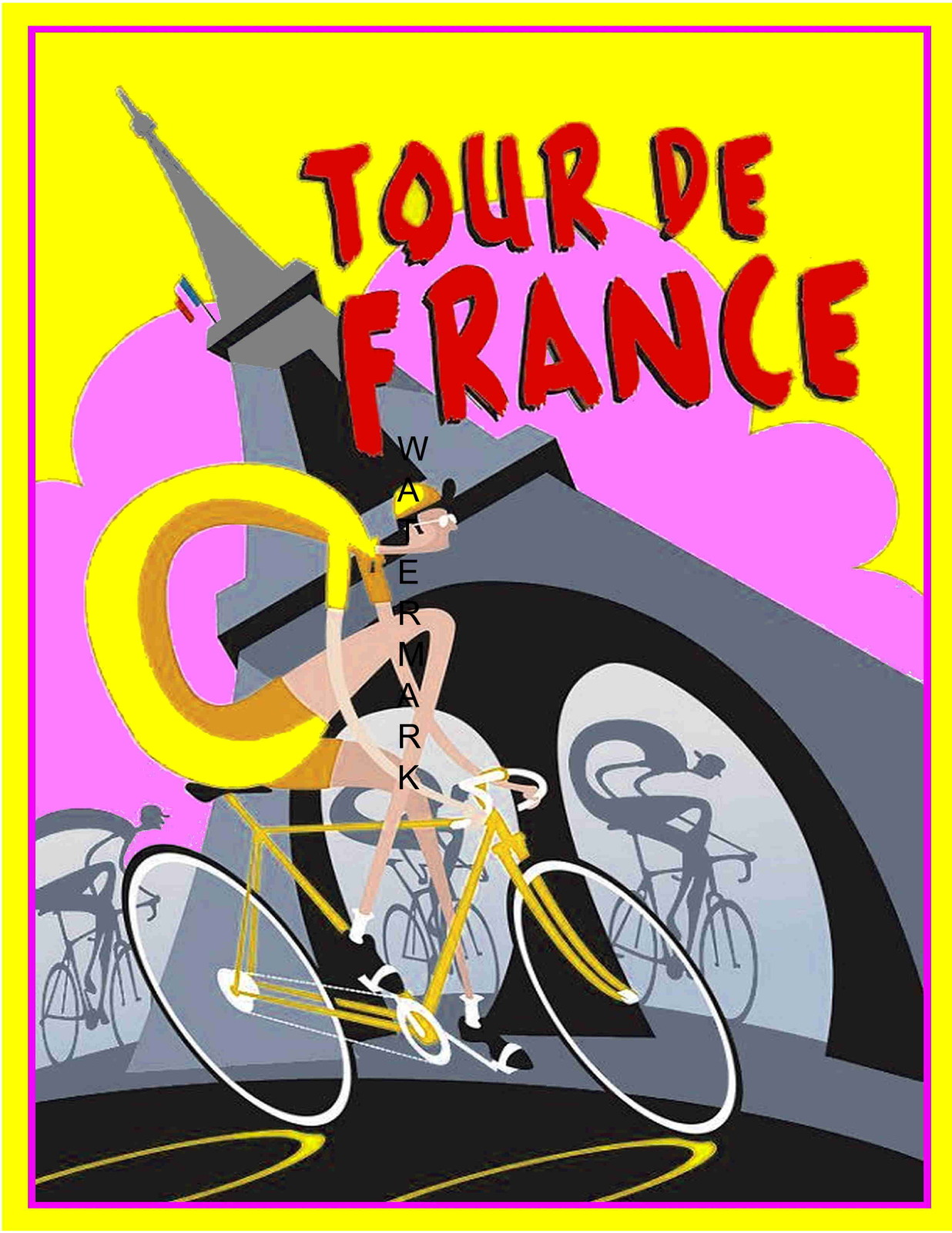 Tour De France Art Deco 13 x 10 in Vintage Bicycle Racing Ad Giclee CANVAS Print