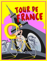 Tour De France Art Deco 13 x 10 in Vintage Bicycle Racing Ad Giclee CANV... - $19.95