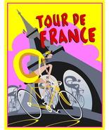 Tour De France Art Deco 13 x 10 in Vintage Bicy... - $19.95