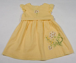 TALBOTS KIDS 18M YELLOW EMBROIDERED DRESS  FLORAL SWEET DAISIES DAISY FL... - $12.61