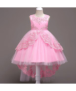 Formal Pink Dress For Girls Flower Girl Pageant Birthday Party Princess... - £45.81 GBP